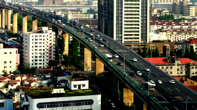 Urban Elevated Traffic From Day To Night video