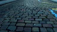 Urban pavement and European paid parking blue road marking FullHD steadicam video video
