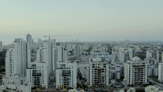 Urban skyline. Panoramic aerial shooting video