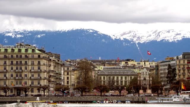 Urban view with famous fountain, Geneva, Switzerland video