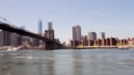 Usa brooklin bridge park summer day manhattan panorama 4k time lapse video