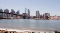 Usa brooklyn bridge park bay summer river manhattan view 4k time lapse video