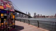 Usa brooklyn bridge park summer day art manhattan view 4k time lapse video