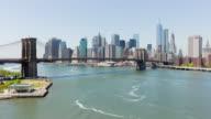 Usa brooklyn bridge park water traffic manhattan bay view 4k time lapse video