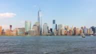 Usa day light jersey city sunny manhattan downtown panorama 4k time lapse video