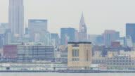 usa jersey city bay manhattan close up panorama new york 4k video