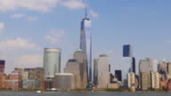 usa jersey city summer bay famous manhattan panorama 4k video