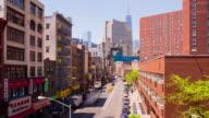 Usa manhattan bridge sunny day new york china town block 4k time lapse video