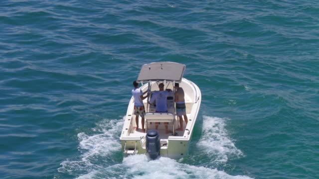 Usa miami beach summer day boat riding ocean gulf pass 4k video