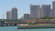 Usa miami downtown sunny day water traffic panorama 4k florida video