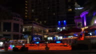 Usa miami south beach night light hotel front illumination 4k florida video