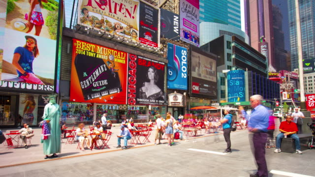 Usa new york city famous time square tourist day life 4k time lapse video