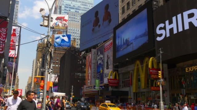 Usa new york day light times square down to top famous buildings 4k video