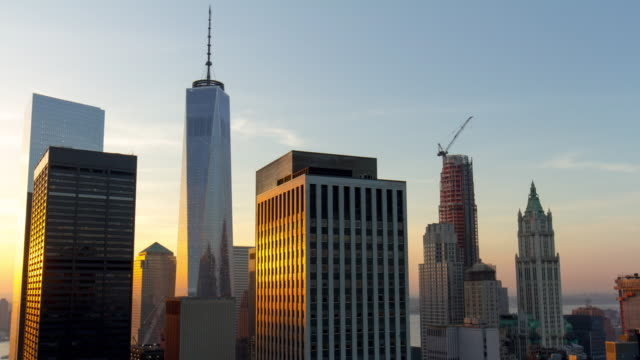 Usa new york freedom tower sunset manhattan roof top panorama 4k time lapse video