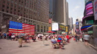 Usa new york manhattan times square famous american flag 4k time lapse video