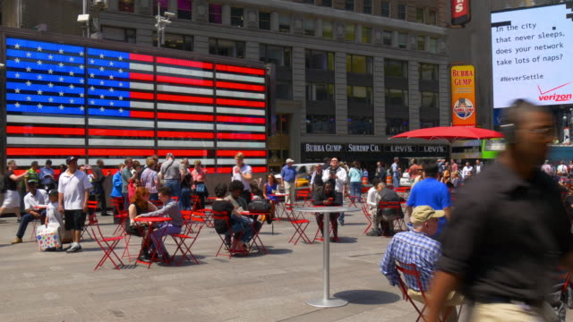 Usa new york summer day times square american flag famous place 4k video