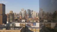 usa new york sunset manhattan aerial tram ride view 4k video