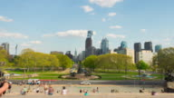 Usa philadelphia city summer day famous rocky stairs center view 4k time lapse video