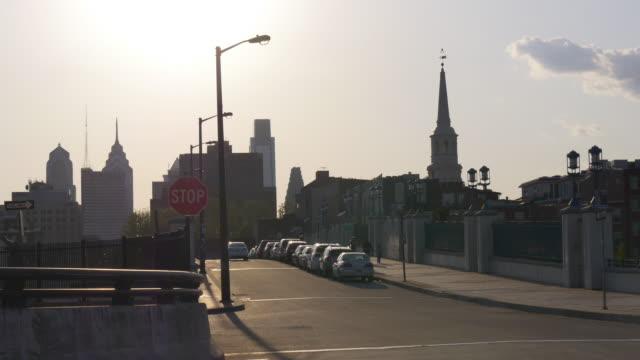 Usa philadelphia city sunset street traffic view 4k pennsylvania video