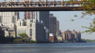 usa queensboro bridge manhattan summer day roosevelt island view 4k video