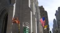 Usa saint patrick cathedral construction work day light new york 4k video