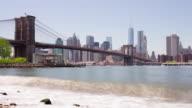 Usa summer day brooklyn bridge park manhattan panorama 4k time lapse video