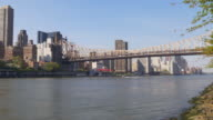 usa summer day roosevelt island queensboro bridge manhattan panorama 4k video
