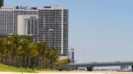 Usa summer light miami downtown palm park walking bay panorama 4k video