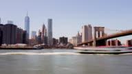 Usa summer new york brooklyn bridge park manhattan panorama 4k time lapse video
