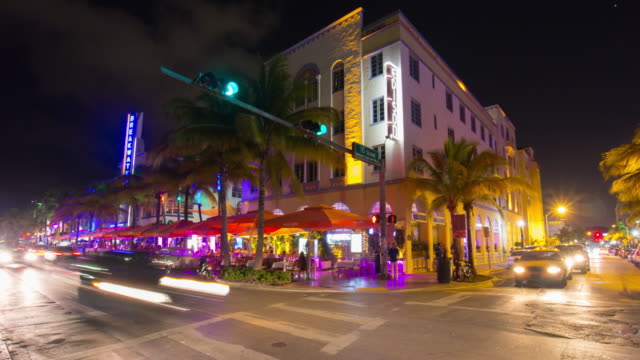 Usa summer night miami south beach ocean drive crossroad street life 4k time lapse video