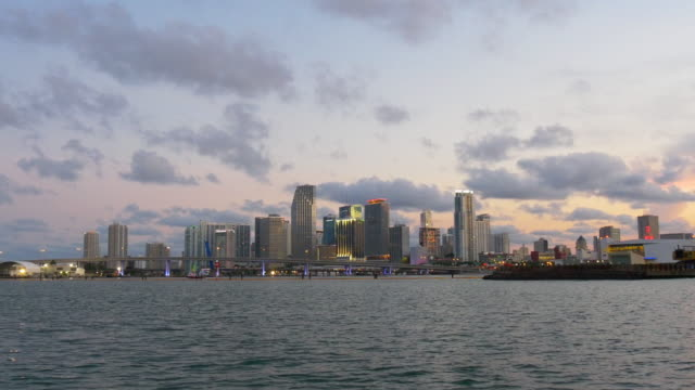 Usa sunset evening lights miami downtown panorama 4k video