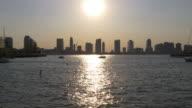 Usa sunset light summer evening new york pier view on jersey city 4k video