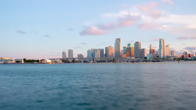 Usa sunset miami downtown waterfront panorama 4k time lapse florida video