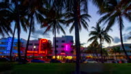 Usa sunset miami south beach famous ocean drive palm park panorama 4k time lapse video