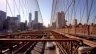 Usa sunset new york famous brooklyn bridge traffic view 4k time lapse video