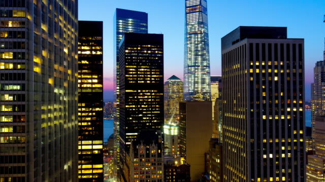 Usa sunset night light manhattan freedom tower roof top view 4k time lapse video
