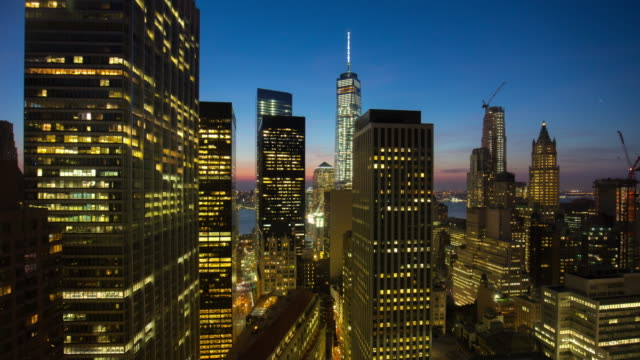 Usa sunset night light new york manhattan freedom tower roof top view 4k time lapse video