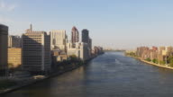 usa sunset roosevelt island queensboro bridge aerial tram ride view 4k video