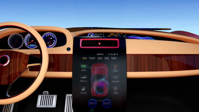 User interface demonstration of electric car's console . Original design. video