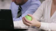 Using a Stress Ball video
