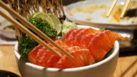 Using Chopstick eating Salmon Sashimi, Japanese Food video
