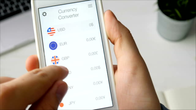 Using currency converter app on the smartphone video