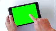 Using digital tablet,Green screen,Close-up video