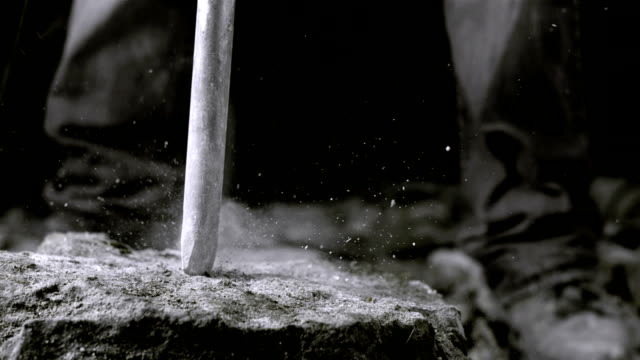 Using Jackhammer On A Rock (Super Slow Motion) video