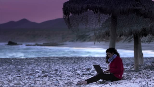 Using Laptop in the beach video