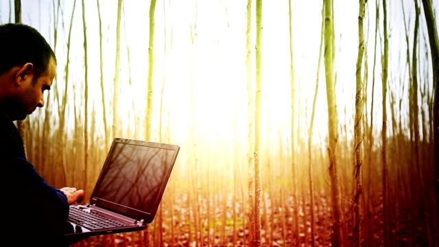 Using laptop outdoor video
