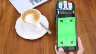 Using mobile for Contactless payment with Green screen, Chroma key video