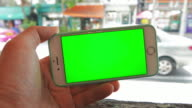 Using smart phone,Green screen,Close up video