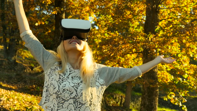 Using Vr headset in forest video
