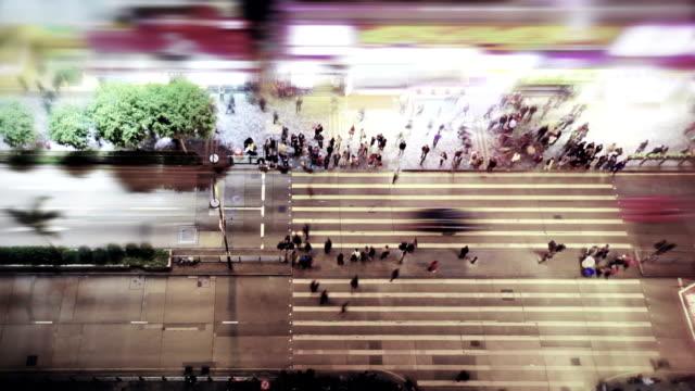 usy pedestrian crossing at Hong Kong video